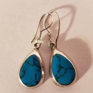 Vintage 1970s Turquoise Sterling Silver Earrings